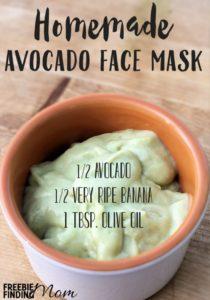 Homemade avocado face mask recipe of goop in bowl