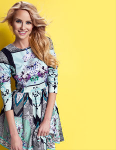 Blonde woman against a yellow background wearing a floral dress