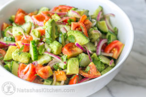 Cucumber tomato avocado red onion salad