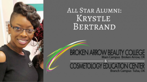 Framed image of beautiful black woman with glass with graphic alumni Krystle Bertrand