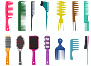 Illustrated image of fourteen different types of hair brushes in various colors