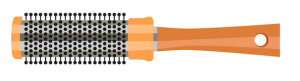 Orange and silver illustration of a round hair comb