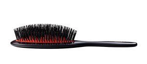 Black mixed bristle hair brush with red cushion