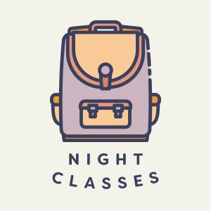 Backpack illustration with words saying night classes