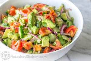Cucumber tomato avocado red onion salad