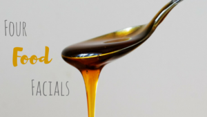Honey dripping off a spoon with words four food facials
