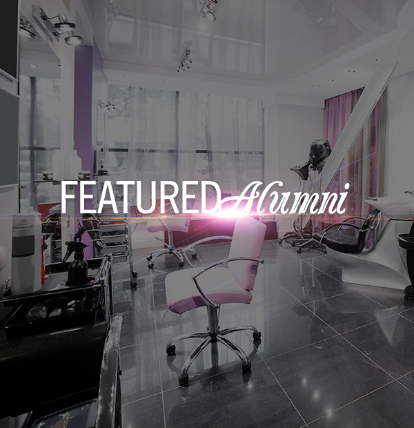 Empty grey and pink beauty salon with words Featured Alumni
