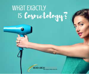 Woman pointing a hair dryer like a gun with words what exactly is cosmetology