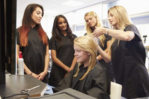 cosmetology students learning