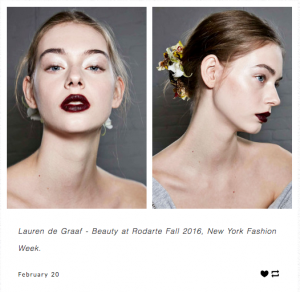 Side by side image of pale woman with updo dark lipstick from front and profile