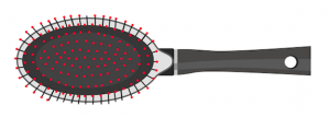 Illustration of a black synthetic bristle brush with red tips