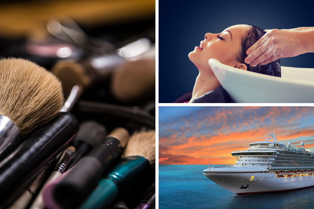 a grid picture of makeup brushes and a cruise ship and a woman getting her hair professionally washed