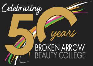 broken arrow beauty college 50 years logo