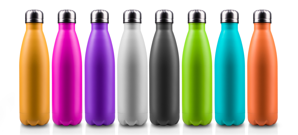 colorful thermo bottles for water